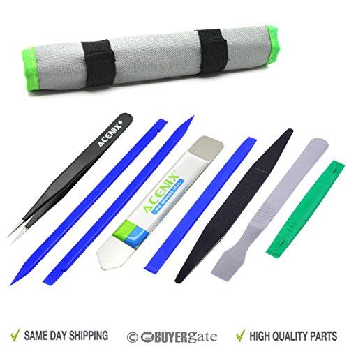 ACENIX® Opening Pry Tool Repair Kit With Non-Abrasive Nylon Spudgers and Anti-Static Tweezers [ Professional 9 Pcs Tools iN Kit Bag ] by ACENIX® - Elektronik Pry Tool