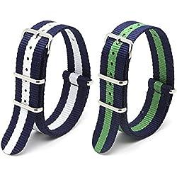 Ritche 2 Pieces 22mm Nylon Watchbands, NATO Premium Nylon Replacement Watch Straps, blue / green, blue / white