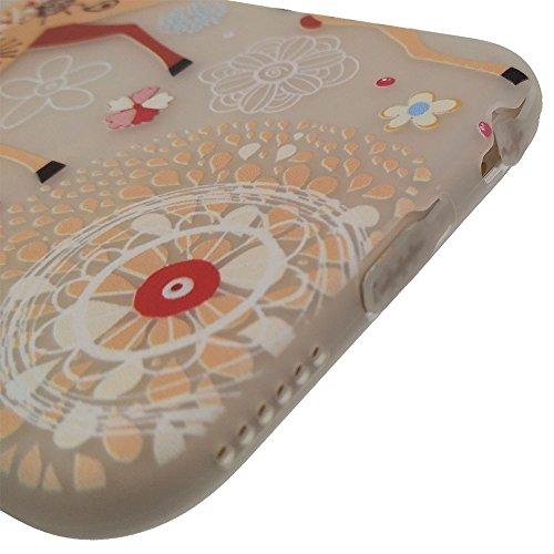 iPhone 6 Plus / 6S Plus Hülle, BENKER Hohe Qualität Kreativ Anti-Kratz Nicht Verblassen TPU Silikon Matte Telefon Fall - Blumen Hirsch