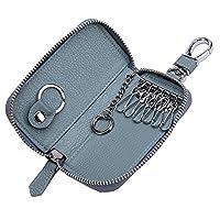 Women's Genuine Leather Zipper Key Case Car Key Holder 6 Hook Key Wallet (Blue)