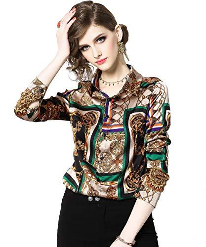 DOVWOER Damen Elegant Bluse mit Blumenmustern & Barock Print Langarm Button-Down Stehkragen Hemd Casual Tops