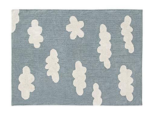 Lorena Canals Wolken Vintage waschbar Teppich, Baumwolle, Blau, 120x 160x 30cm