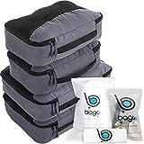 Cubos de embalaje valor establecido para viajes - 4 Organizador con documentos bolsa de protección Gris