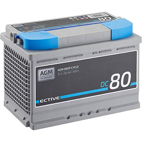 ECTIVE 80Ah 12V AGM Batterie DC 80 VRLA Versorgungsbatterie in 7 Varianten: 70Ah - 230 Ah (wartungsfrei)