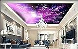 Muraon Peinture murale HD sur mesure 3d papier peint plafond chambre murale 12 constellation univers violet pephoto zenith papier peint peinture murale non tissé, 430x300 cm (169.3 par 118.1 in)