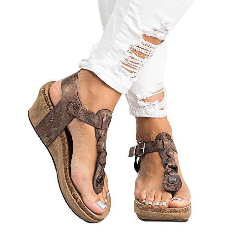 Pxmoda Damen Sommer Espadrille Wedge Sandalen Mode Schnalle Wildleder Plateau Schuhe (43, Braun)