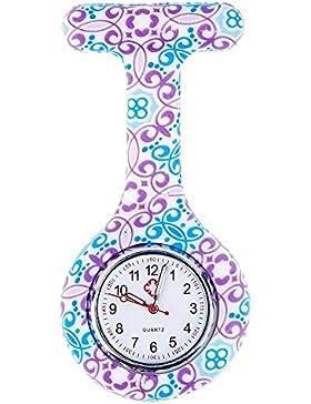 KAIKSO-IN Bunte Silikon Edelstahl runden Zifferblatt Quarz Fob-Quarz-Taschen-Krankenschwester-Uhr Nettes (C)