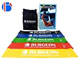 #10: Resistance Band Set Of 5 With Physical Booklet With 40 Plus Exercises,Resistance Bands For Pullups, Exercise Band, Resistance bands for heavy workout, Rehab,Improved Mobility - Light, Medium, Heavy, Resistance Bands For Women /Men, Butt, shoulder, Glutes, Yoga, Physical Therapy, Home exercise Training for Women, Men by Burgeon™.