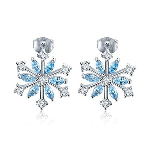 YH Schneeflocke Ohrringe, 925 Sterling Silber Zirkonia Winter Frozen Light Blau Schneeflocken Ohrstecker, Weihnachten Geschenk, Schmuck für Frauen
