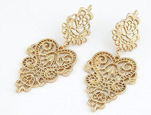 Lange Linayo® Gold Farbene Viktorianische Vintage Style Barock Spitzen Ohrringe, ohrstecker -