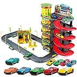 Siyushop Mega Ramp Racing Set, Rail Boy Boy Toy, Set parcheggio per Auto - Garage a 5 Piani (Inclusi 10 Auto in Lega)