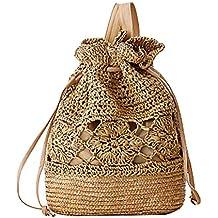 Laat hecho a mano tejido a crochet bolsas de hombro paja Mochila bolsa de playa cordón