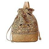 Laat hecho a mano tejido a crochet bolsas de hombro paja Mochila bolsa de playa cordón mochila de viaje bolsa estudiante Schoolbag flor Impreso, marrón oscuro