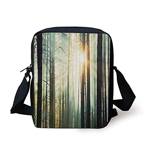 LULABE Country,Fairy Foggy Forest Mist in The Woods Enchanted Wilderness with Sunbeams Image Decorative,Teal Brown Print Kids Crossbody Messenger Bag Purse - Enchanted Woods
