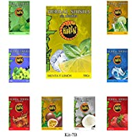 9 Paquete x 50g Sabor SURTIDO Hibron Hierba Para Shisha Cachimba Sin Nicotina Kit 7