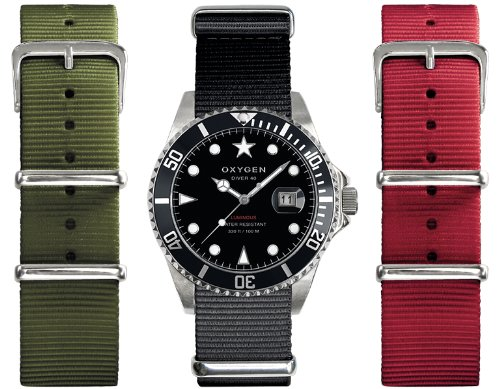 Oxygen - EX-D-MOB-40-3S - Diver - Montre Homme - Quartz Analogique - Cadran Noir - Bracelet Nylon Noir