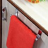 #6: APPUCOCO over the Door Cabinet Towel Bar Kitchen Hanger, Heavy-duty Steel Hanging Organizer Rack with Upto 2cm (Silver)
