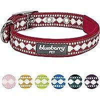 [Gesponsert]Blueberry Pet Halsbänder für Hunde 2cm M 3M Reflektierendes Hundehalsband in Marsala Rot mit Jacquardmuster