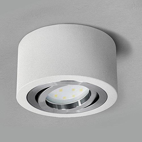 SSC-LUXon flacher LED Spot Aufbau (rund, weiss, schwenkbar) - Deckenleuchte Ø 90 mm inklusive LED-Modul 5W warmweiß 230V