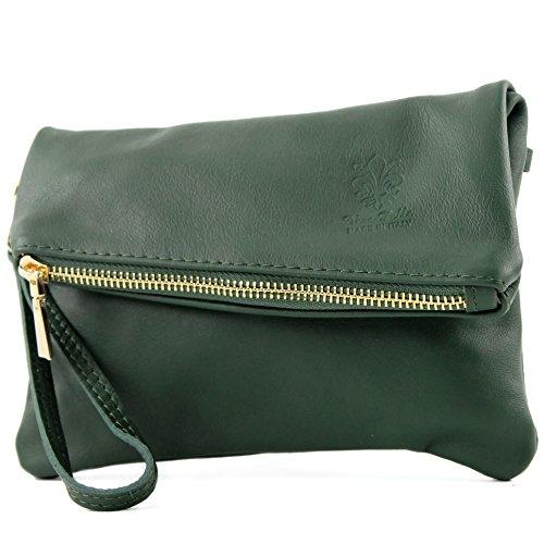 modamoda de -. ital petites dames de sac d'épaule de sac en cuir d'embrayage poignet Sac en cuir T95, Präzise Farbe (nur Farbe):Flaschengrün