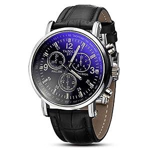Lucky mall Mode Kunstleder Herren Blue Ray Glas Quartz Analog Uhren Braun