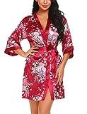 Lucyme Damen Morgenmantel Kimono Bademantel Kurz Satin Nachtwäsche Robe Schlafanzug Mit Blumen,A-weinrot,L