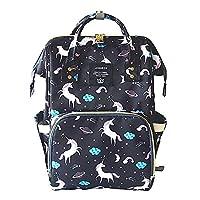 LEQUEEN Diaper Bag, Black With Unicorn Print