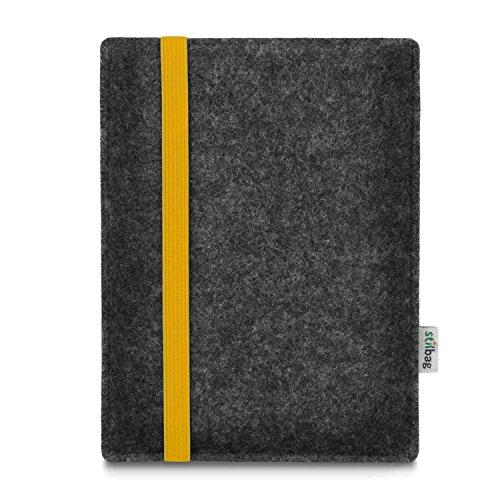 stilbag e-Reader Tasche Leon für Amazon Kindle Oasis (9. Generation), Wollfilz anthrazit - Gummiband gelb