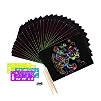 Scratch Art for Kids, Scoolr 50 Sheets Rainbow Scratch Paper Arts and Crafts for Kids Black Magic Scratch Art Notes Paper Boards with 5 Wooden Stylus and 4 Drawing Rulers and 1 Pencil Sharpener