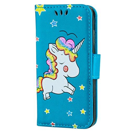 iPhone X Custodia, CXTcase Portafoglio in pelle PU Cover con Tasca per carta Chiusura Magnetica e Copertura Pieghevole Case per iPhone X 2017 Unicorno Glitter Rosa Blu Unicorni