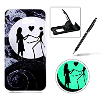 For Samsung Galaxy A7 2017 SM-A720 Silicone Case,Herzzer Creative Unique Stylish [Moon Couple] Drawing Pattern [Night Luminous] Effect Fluorescent Glow In The Dark Ultra Slim Soft Silicone Gel TPU Rubber Back Cover for Samsung Galaxy A7 2017 SM-A720 + 1 x