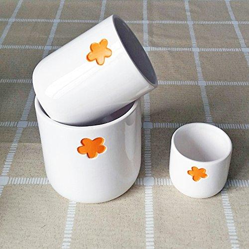 Better-way en céramique en forme de fleur Motif floral Plante à fleurs Cactus à nourriture Orchidée Pot de fleurs Dekohaken24 Boîtes Bol Pot de fleurs, Céramique, Orange, Pack Of 3