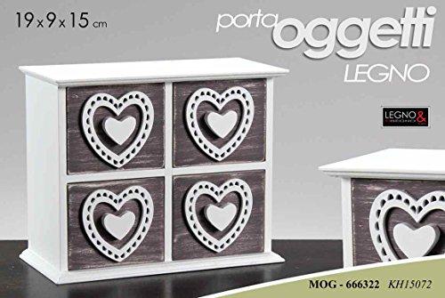 Porta oggetti in legno bianco decorato 4 cassetti 19x9x15