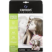 Canson Everyday Matt A4 170G A4 Color blanco - Papel fotográfico (210 mm, A4, 50 hojas, Color blanco, Negro mate, 297 mm)