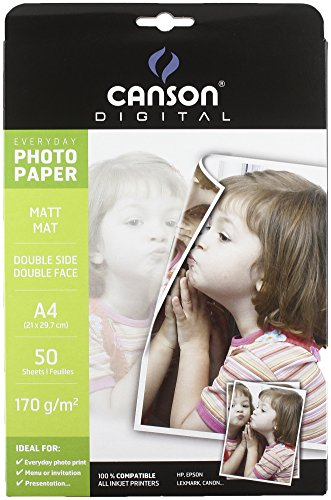 Canson Digital Everyday Papier Photo Double Face Mat 170 g A4 Blanc - Lot de 50 Feuilles