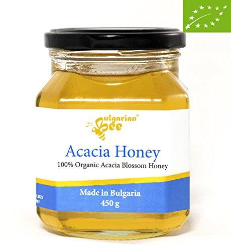 450 g Miele di fiori di acacia biologico, Non riscaldato, non pastorizzato, crudo, direttamente dall'alveare, edizione limitata, miele autentico bulgaro (UE)