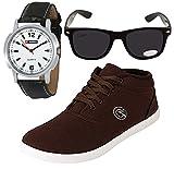 Globalite Men's Brown Sneaker With Watch & Sunglass (9)