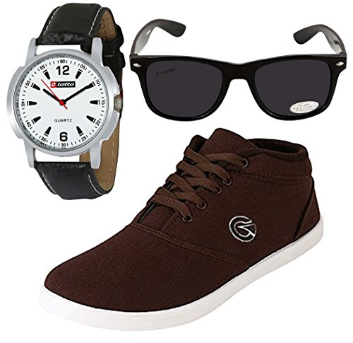 Globalite Men's Brown Sneaker With Watch & Sunglass(9)