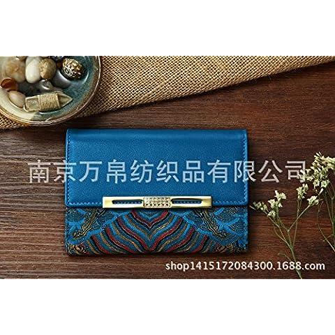 Da donna in pelle di seta corto brocade purse 14,1*10*2.8cm