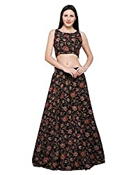 Inddus Black Block Print Lehenga Set