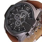 SSITG Retro Rotgold Herren Braun Lederarmbanduhr Sportuhr Armbanduhr Weihnachtgeschenk #3