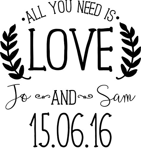 Timbro per matrimonio – all you need is love (personalizzabile)