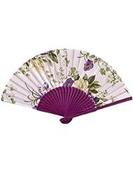Sourcingmap-Mango de madera diseño de flores verano mujer fiesta plegable ventilador de la mano