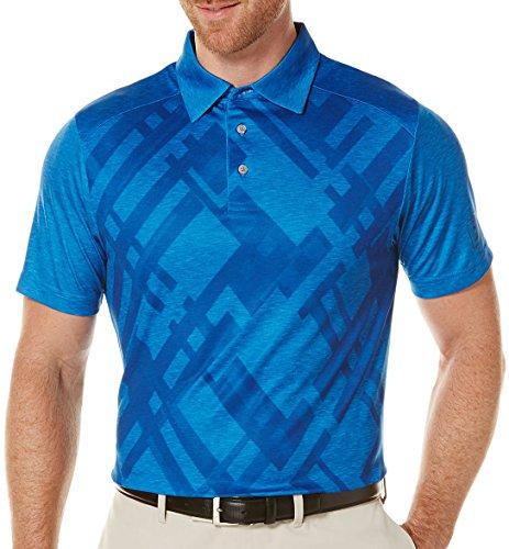 PGA TOUR Men's Golf Performance Short Sleeve Blocked Heathered Argyle Polo Shirt, Daphne, Medium - Argyle Golf Shirt