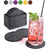 Sidorenko Felt Coasters Round for Glasses Set of 10 Ink. Box Design Glass Coaster in Dark Grey for Drinks, Cups, Bar, Glass Premium Table Coasters Felt Coasters