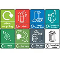 8 x WRAP Recycling Bin Set - [A5 150mm x 200mm] Self Adhesive Stickers