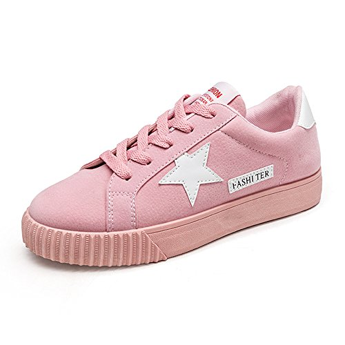 Lace Up Womens Trainers Jogging Walking Star Flats Shoes Casual Pink 42
