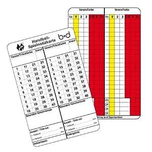 b+d Spielnotizkarten Handball 100 Stück