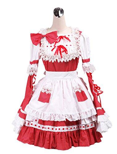 antaina Rot Baumwolle Tupfen Rüsche Spitze Fliege viktorianisch Maid Knielang Elegant Lolita Cosplay ()