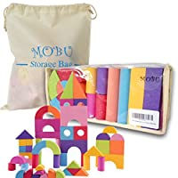 MOBU Foam Building Blocks Toys With an Reusable Storage Bag, 50 PCS Creative Safe Bright Color EVA Foam Brick Sets For Toddlers Playing Indoor Outdoor Bathroom Bathtub or Beach